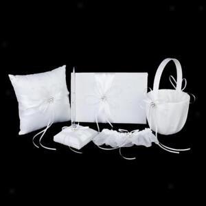 White Diamante Flower Wedding Set Guest Book Pen   Pillow Girl Basket Garter
