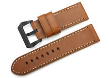 26mm Vintage Brown Genuine Leather Watch Band Black PVD Buckle Strap For Panerai