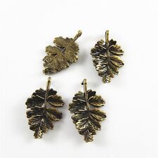 10pcs Antiqued Bronze Alloy Leaf Pendants Retro Jewelry 28x19mm 02377