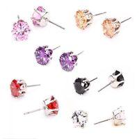 Rhinestone Lady Earrings Silver Plated Ear Stud Cubic Crystal