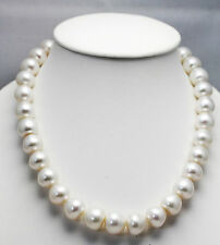 16.7mm!! WHITE SOUTH SEA PEARL NECKLACE 100% NATURAL COLOUR+18ct GOLD CLASP+CERT