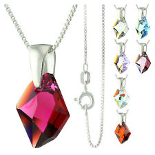 925 Sterling Silver Faceted Cosmic Ruby Crystal Pendant Necklace