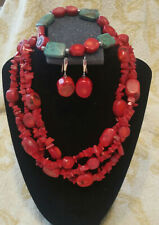 Red Coral 3 Strand Necklace /Matching Earings/Stretch Bracelet Coral +Turquoise