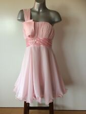 Flirty pink chiffon bridesmaid evening party dress with sparkling decoration