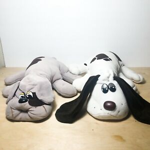 """1985 Tonka Pound Puppies White w/Brown Spots Plush Dog  18"""" Set Of 2"""