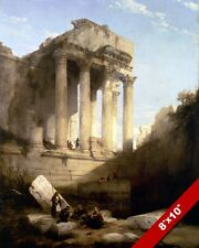 TEMPLE OF BACCHUS ANCIENT ROMAN RUINS IN LEBANON PAINTING ART REAL CANVAS PRINT
