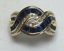 4 ct natural (REAL)  DIAMOND & SAPPHIRE ring SOLID 14k yellow GOLD ( 7 grams)