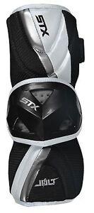 $60 STX Jolt Lacrosse Arm Guards Black/White/Silver Youth Size Large (14-16 yrs)