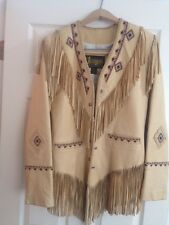 Diamond Leathers Handcrafted Beaded Fringe Tan Leather Jacket Women's Size 8
