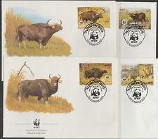 v1871 Kambodscha/ WWF 1986 Wildrinder  MiNr 823/26 auf 4 FDC