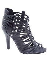 Lane Bryant Women's Strappy Heeled Black Sandals Black Wide Width