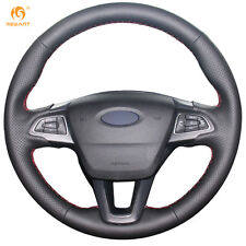 Black Leather Steering Wheel Cover Wrap for Ford Focus 3 2015 Kuga Escape 2017