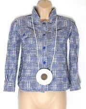 Women's Vintage Handmade 3/4 Sleeve Popper Loose Check Blue Cotton Shirt UK10