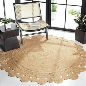 Rug 100% Natural Jute Braided Style Reversible Round Rug Modern Carpet Area Rugs