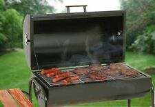 Charcoal Grill Smoker Barrel Grate Shelves BBQ Steel Outdoor 2 wheels Portable