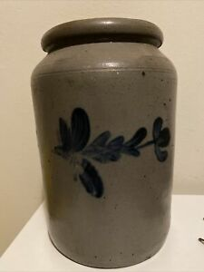 "Antique Painted Stoneware Crock 11"""