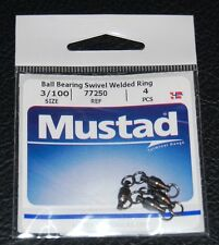 Mustad 77250-3/100 Ball Bearing Swivel with Welded Rings 100lb Test Pack of 4