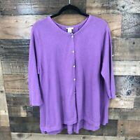 J Jill Women's Purple Oversized Pleated Back Button Front Cardigan Sweater