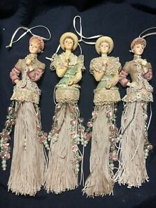 Vintage Lot Of 4 Different Victorian Girl Christmas Ornaments Tassel Beaded