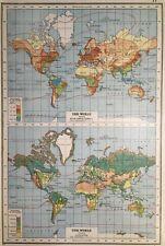 Vintage Antique Original 1920 Map Of The World Showing Rainfall & Vegetation