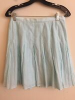 6274)  J JILL size 2P 2 blue cotton silk pleated skirt at knee