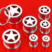 Pair 316L Surgical Steel Star Screw Fit Ear Plugs Tunnels Earrings Gauges