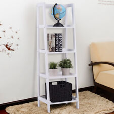 Wooden Shelf Bookcase Wall Ladder Rack Stand Display Unit Storage Shelves 4 Tier