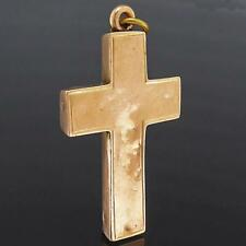 English Antique 1901 Chester Solid 9k ROSE GOLD CROSS PENDANT Baby chewed it.