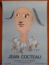 "JEAN COCTEAU ""ARLEQUIN"" - Affiche Galerie Lucie Weill 1973 - 63,7 x 44,7 en TBE"