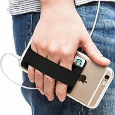Phone Grip Card Holder Strap Pocket Smart Cell Phone Band Black Pouch WALLET .