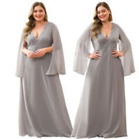Ever-Pretty Plus Size Chiffon Long Evening Party Dress Mother Of Bride Maxi Gown