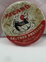 Vintage PECARD Leather Dressing Round Red & White Metal Tin Can