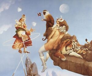 Michael Parkes MAYA odd group tiger monkey woman dwarf juggler surreal art print