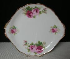 "AMERICAN BEAUTY Royal Albert China 10¼"" TAB HANDLED CAKE COOKIE PLATE England"