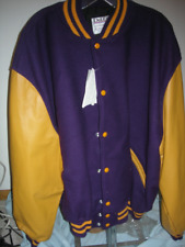 Purple Delong letterman jacket - DeLong award Jacket w/ leather sleeves - 4XL