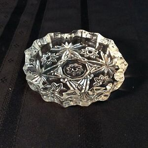 Vintage Crystal Clear Industries hand cut lead crystal ashtray     (A)