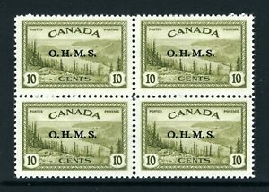 CANADA Scott O6 - NH - BLK of 4 - 10¢ Great Bear Lake OHMS Overprint (.006)