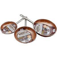 "Copper Induction Frying Pans, 8"", 9.5"", 11"" Non-Stick Pot Pan Fry Cookware Set"