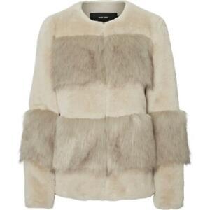 Vero Moda Women's Faux Fur Mixed Media Open Front Jacket