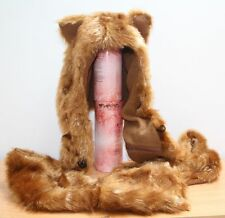 Unisex Cosplay Faux Fur Gold Fox Fluffy Full Animal Hat with Scarf Mitten Ear