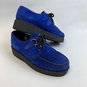 Underground Originals blue suede creeper platform shoes velvet size 4 EU 37