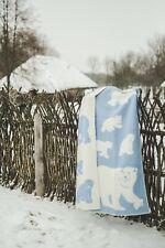 Blanket Throw Bed Sofa Fleece Cozy Plaid Soft Warm 100% Wool 130x200cm Bear Blue