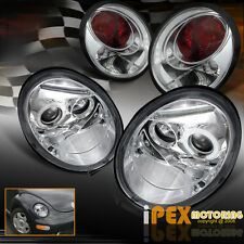 1998-2005 VW Beetle LED Halo Projector Chrome Headlights + Euro Tail Lights