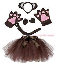 Halloween Party Kids Brown Monkey Ape Headband Paw Tail Bow Gauze Skirt Costume