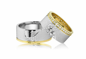 2 Trauringe Eheringe Verlobungsring 925/- Silber 10 mm Breit