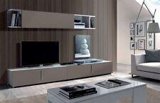 Maura TV Unit Full Wall Media Center Basalt Grey on White Melamine