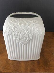 Victorian Style White Fine Porcelain Tissue Box Holder