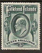 FALKLAND ISLANDS 1904-12 KEVII 3/- DEEP GREEN SG49b