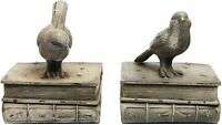 Decorative Birds & Books Design Vintage White Resin Bookshelf Bookends 1 Pair