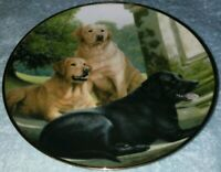 Franklin Mint Heirloom Plate Canine Companions, Black & Yellow Lab Dogs